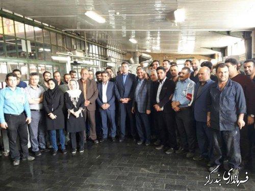 دیدار فرماندار بندرگز به اتفاق نورقلی پور نماینده مجلس شورای اسلامی با کارگران واحد تولیدی