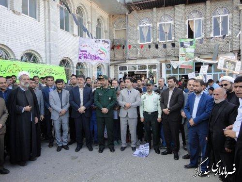 راهپیمایی روز سیزدهم آبان با شکوه هرچه تمام در بندرگز برگزار شد