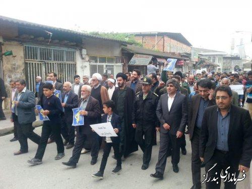 نمازگزاران بندرگز در حمایت از سپاه پاسداران راهپیمایی کردند