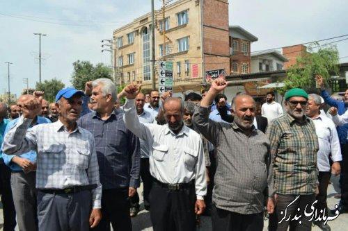 مردم بندرگز در حمایت از بیانیه شورای عالی امنیت ملی راهپیمایی کردند