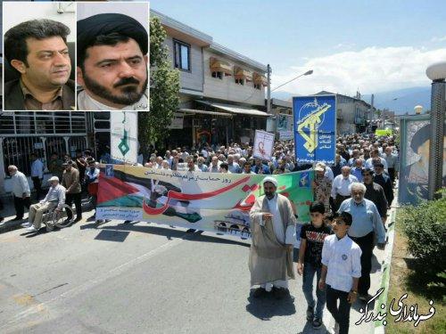 امام جمعه و فرماندار بندرگز از حضور مردم در راهپیمایی روز قدس تقدیر کردند
