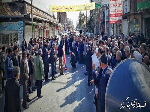 راهپیمایی مردم بندرگز درحمایت از اقتدار نظام