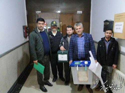 ستاد انتخابات شهرستان بندرگز و تحویل اولین صندوق شعب