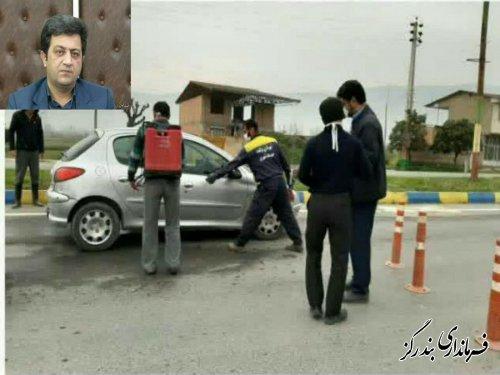 خودروهای ورودی شهر نوکنده ضدعفونی می شوند